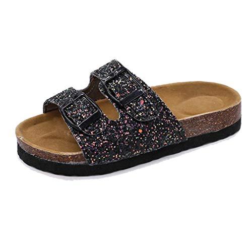 Chicas Cork Sandalias Verano cómodas Lentejuelas Antideslizantes Antideslizantes hogar Interior Zapatos de Playa al Aire Libre