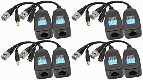 AAOTOKK Balun HD BNC a RJ45 Video Transceptor Pasivo HD-CVI/TVI/AHD/CVBS con Conector de Alimentación para 1080P 3MP 4MP 5MP 8MP CCTV Seguridad DVR Sistema de Cámara Vigilancia(4 Pares-19CM)