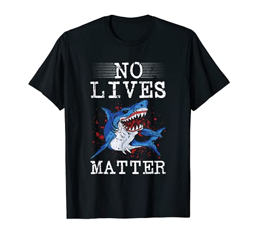 Ninguna vida importa miedo Halloween asesino tiburn peligroso pescado Camiseta