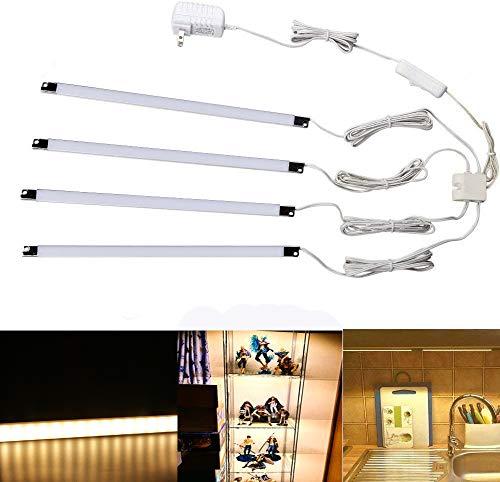 LED フィギュア ライト ライトバー スティックライト 4ピース 1.5W x 4 フィギュアラック、廊下、階段など適応 棚下直付型LEDライト (ウォームホワイト)
