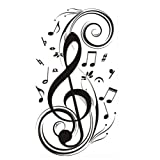 23.6' X 47.2' Olivia Music Notes Wall Stickers Decals DIY Vinyl Removable Large Graphic Clef Wall Mural Decor Art for Teen Boys Girls Kids Children Bedroom Living Room Baby Nursery Home Decorations