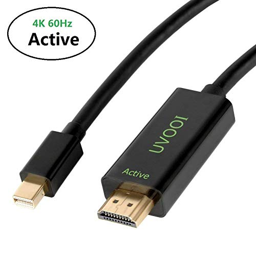 Active Mini DisplayPort to HDMI 2.0 Adapter Cable 10 Feet, UVOOI Mini DP to HDMI Active Cable Supporting Eyefinity Technology & 4K@60Hz, 1440P@144Hz Resolution-A2