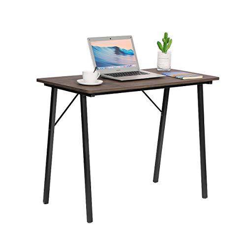 Coavas Scrivania da Studio Scrivania per Computer Semplice con Gambe in Metallo per l'home Office, 100x48x74 cm, Noce