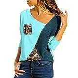 MRULIC Damen Kurzarm T-Shirt Rundhals Ausschnitt Lose Hemd Pullover Sweatshirt Oberteil Tops(B-Blau,EU-42/CN-XL)