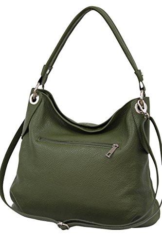 Ambra Moda GL012 - Borsa a tracolla da donna in vera pelle, Verde (verde oliva), Large