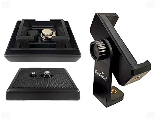 DaVoice Tripod Quick Release Plate Parts Replacement for Vivitar VPT-120 VPT-240 VPT-360 Barska Deluxe AF10374 Celestron 93606 + 360 Rotate Tripod Phone Mount, Compatible with iPhone