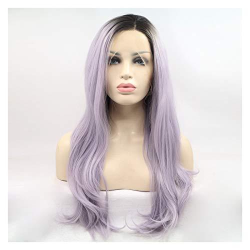 Peluca de mujer a la moda y hermosa peluca de encaje frontal de seda de alta temperatura, pelucas sintéticas largas onduladas para mujeres (color: 24 pulgadas)