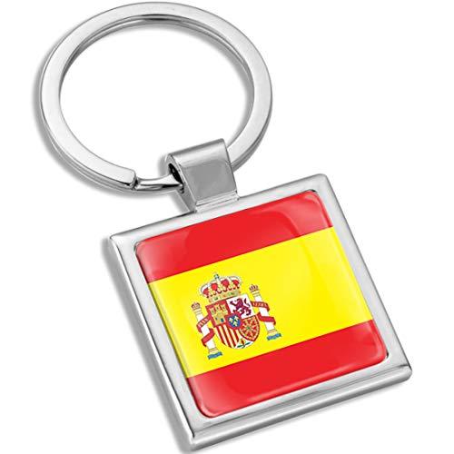 Biomar Labs® Schlüsselanhänger Metall Keyring mit Geschenkbox Autoschlüssel Geschenk Metall-Schlüsselanhänger Schlüsselbund Edelstahl Spanisch Spain Spanien Spanish Flagge Fahne KK 287