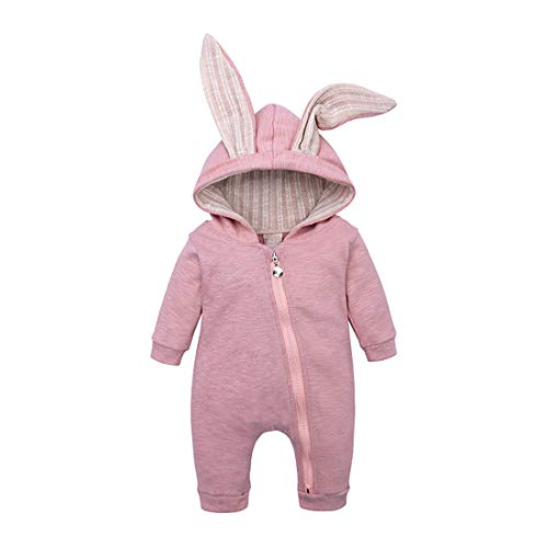 Verve Jelly Neugeborenes Baby Unisex Bodysuit Nettes Hasenohr Langarm Reißverschluss Strampler Herbst Winter Pyjama Outfit
