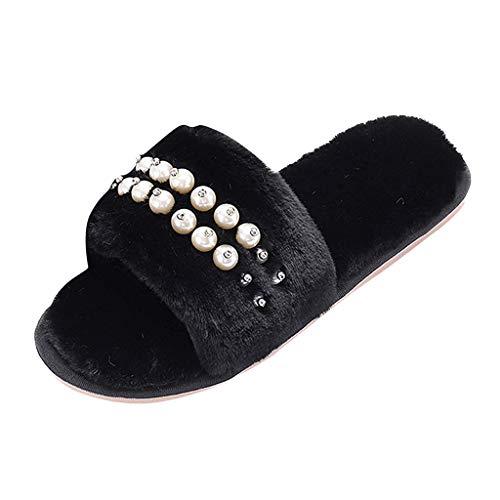Floweworld Damen Wintermode Hausschuhe Mode Offene Spitze Warme Plüsch Weiche Schuhe Perle Flip Flop Indoor Outdoor Flache Sandalen
