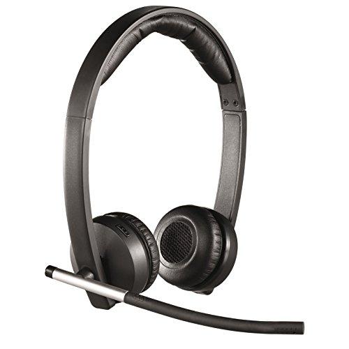 Logitech H820e Cuffie Wireless, Cuffie Stereo Con Microfono a Cancellazione di Rumore, USB, Controlli Cuffia, Indicatore LED, Compatibili Con PC/Mac/Laptop, Nero