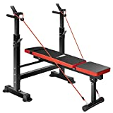 VIVOHOME Adjustable Folding Multi-Function Weight Bench with Barbell Rack Set Incline Decline Capability for Full Body Workout Home Gym Strength Training Easy Storage Black Red 330LBS