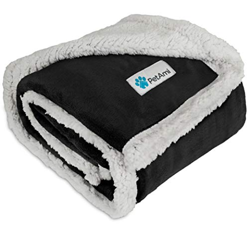 PetAmi Premium Puppy Blanket | Pet Small Dog Blanket for Cats, Kitten | Soft, Warm, Plush, Reversible Fleece Sherpa Throw - 30x40 Inches Black