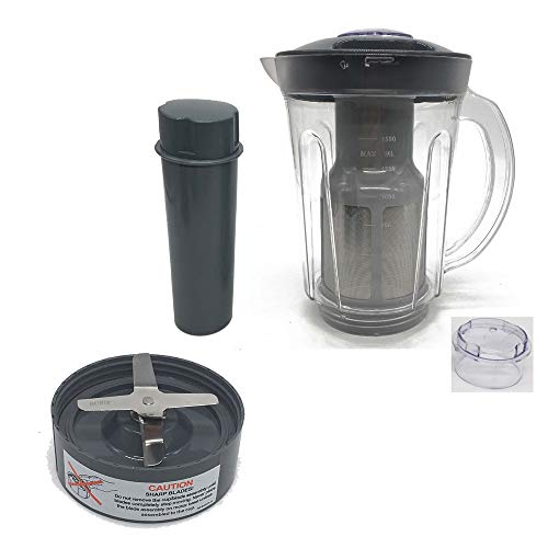 Joystar 48oz Larger cup replacement parts soymilk picther attachement &Juicer Attachment with extractor blade ,compatible with Nutri Bullet Original 600series &Pro 901 series