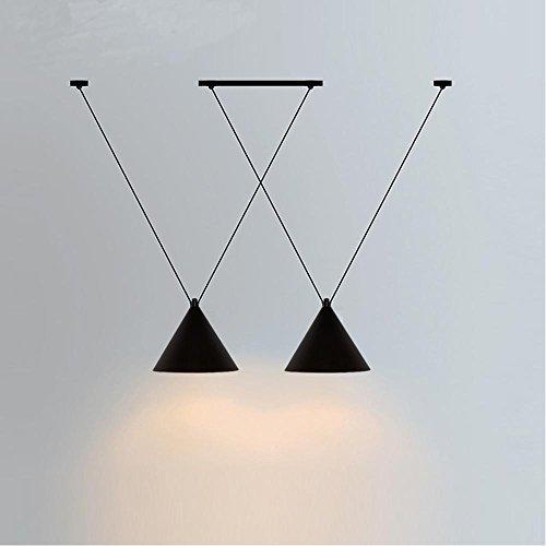 Lustre rétro à 2 têtes - Design vintage - Style minimaliste - Suspension en fer - Abat-jour rond - E27 - Pour salle à manger