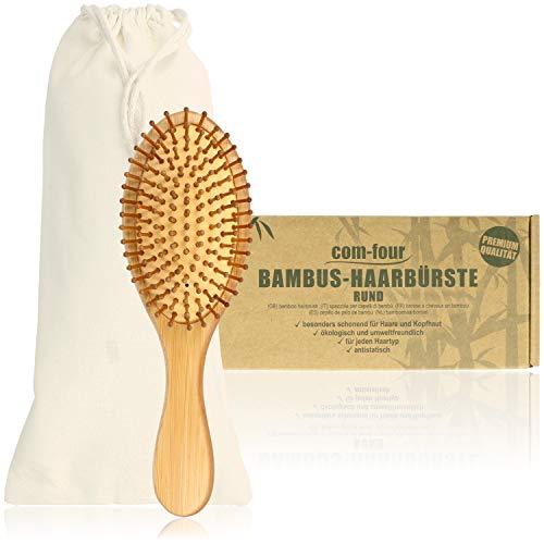 com-four® Natur-Haarbürste aus Bambus - Umweltfreundliche Bürste mit Naturborsten für natürlich schöne Haare - Für Männer, Frauen, Kinder - 100% Vegan (1 Stück - Allzweckbürste)