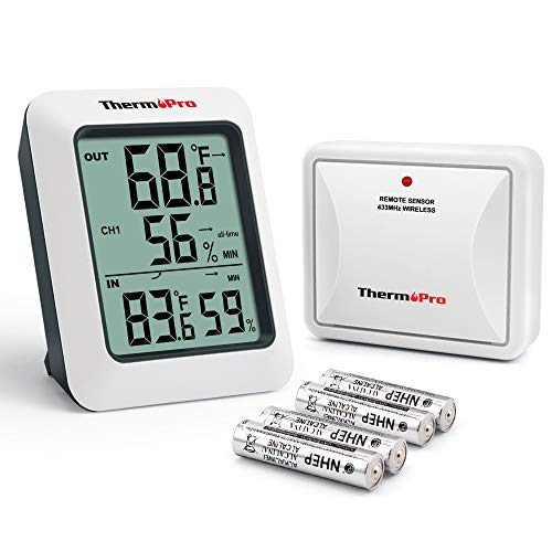 ThermoPro TP60S Digital Hygrometer Indoor Outdoor Thermometer Wireless Temperature and Humidity...