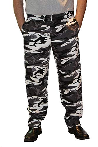 Mens Traditional 100% Cotton Baggy Chef Pant (Camo, L)