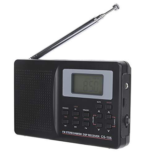 Zunate Radio Digital, Mini Radio portátil Profesional FM/Am/SW/MW/LW/TV Receptor de Banda Completa Hogar con Radio Reloj Digital con Auricular