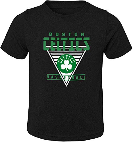 Outerstuff NBA Toddler Triangle Offense Primary Logo Short Sleeve T-Shirt (Boston Celtics Black, 4T)