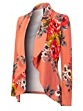 MixMatchy Women's [Made in USA] Solid Formal Style Open Front Long Sleeves Blazer (S-3X) Dark Coral Flower Print M