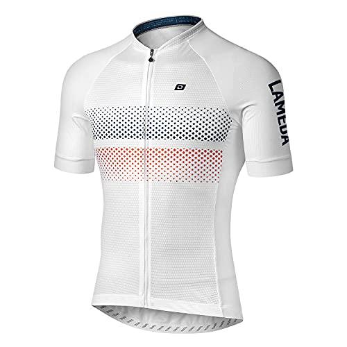 LAMEDA Maillot Ciclismo Hombre Verano Ropa Ciclista Hombre Poliéster 100% Transpirable Ropa Camiseta Ciclismo Elástico y De Secado Rápido(Blanco,2XL)