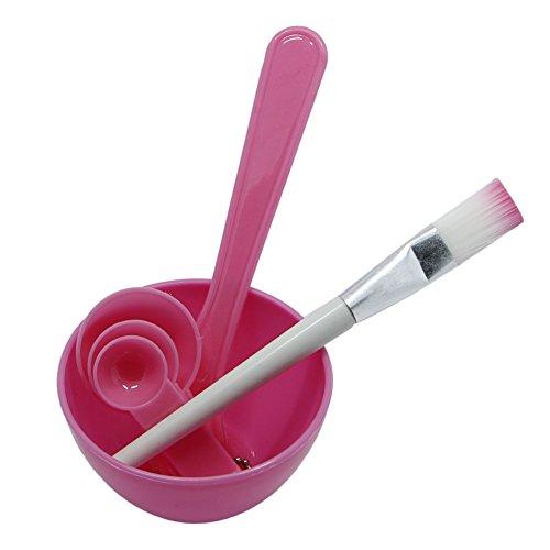 Gergxi Masque facial 4 en 1 à monter soi-même avec bol à mélanger, pinceau, cuillère et bâton pour soins du visage, rose