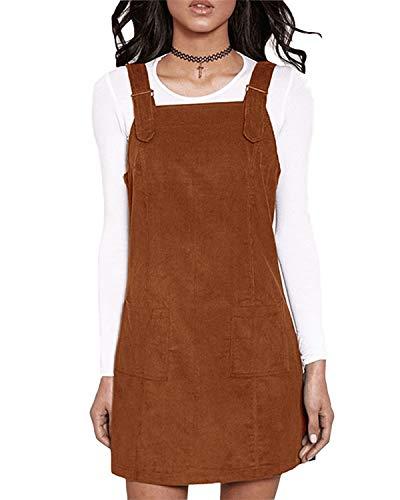 VONDA Damen Latzkleid Sommer Minikleid Ärmellos Trägerkleid A Linie Rock mit Tasche A-Kaffee M