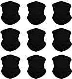 KALILY 9PCS Black Headwear Face Mask Wide Headbands Scarf Head Wrap Sweatband -12 in 1 Multifunctional Sport Headband Neck Warmer for Camping, Fishing, Hiking, Yoga