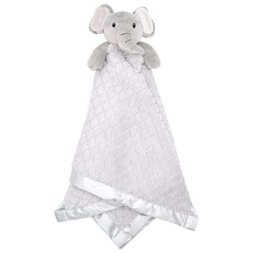 """Large Lovey Baby Security Blanket for Boys and Girls by Everyday Kids - Sweet Elephant Stuffed Animal on 30"""" Gender Neutral Gray Snuggle Baby Blanket; Fluffy Fleece with Attached Plush Toy to Cuddle"""