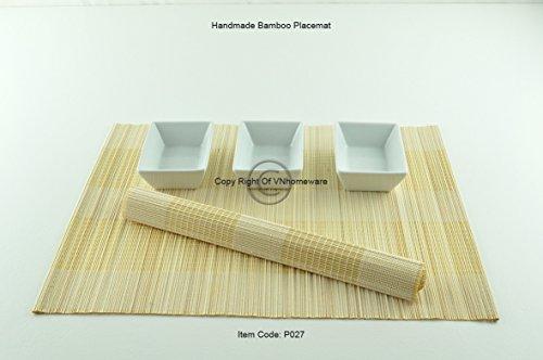 4 faite à la main en bambou Sets de table, sets de table, Lot de 4, White-cream, P027