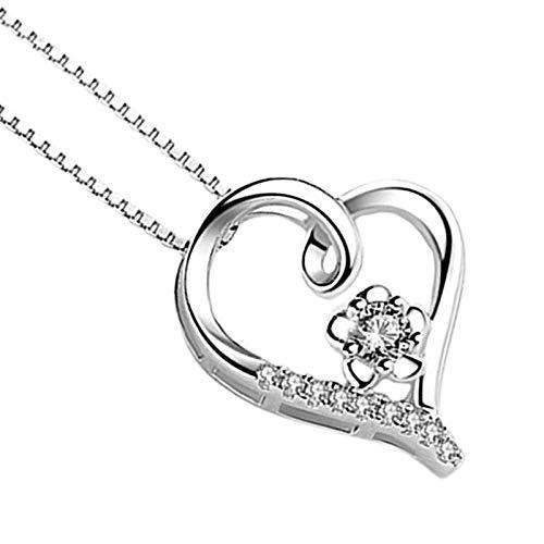 Herz Halskette für Frauen, Liebe auf den ersten Blick Anhänger Silber Herz Anhänger, Weihnachtsschmuck Geschenk Geburtstagsgeschenk für Mutter Frauen Frau Mädchen Sie