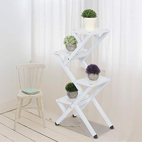 Blumenständer, 4-stöckig, Z-Form, für den Innenbereich, Stahl-Holz, Blumentopf-Ständer, Blumenständer, Ständer für Blumentöpfe im Innen- und Außenbereich, 40 x 25 x 80 cm weiß