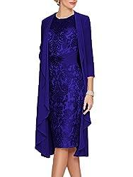 Royal Blue Echo Lace  Dress With Rhinestone Belt & Chiffon Jacket