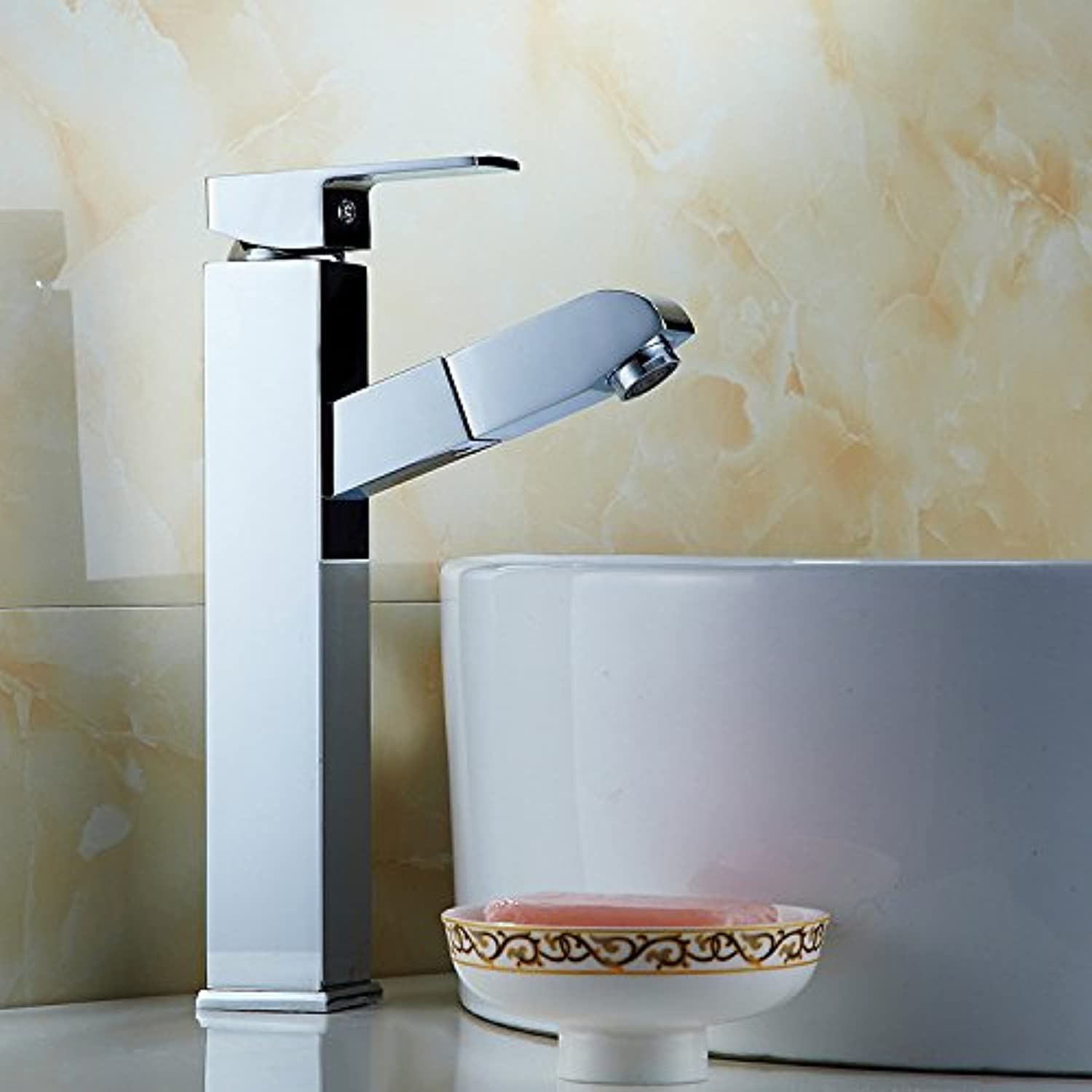 redOOY Copper Faucet_Highlight Pull Faucet Single Hole Telescopic Above Counter Basin Washbasin