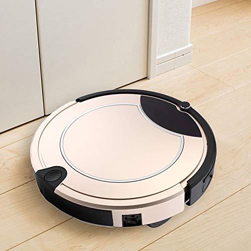 Robot Vacuum Cleaner, Buena TC-450 del Aspirador Inteligente de Pantalla táctil Barrido Robot de Limpieza del hogar con Control Remoto (Negro), Obras en Las alfombras y Suelos Duros (Color : Gold)
