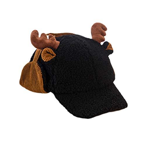 HIOD Niños Niñas Bebé Niños Sombrero de Invierno Niños Niño Pequeño Sombreros Lindos y Cálidos con Orejeras,Black