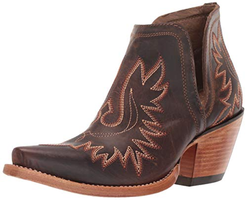 Ariat Women's Hybrid Rancher Western Cowboy Boot, Distressed Brown/Hot Leaf, 8 B US