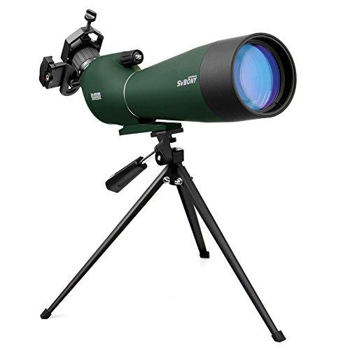 Svbony SV28 Telescopio Terrestre 20-60x80mm IP65 Impermeable Bak-4 Prism Telescopio Terrestre Potente Trípode y Adaptador de Smartphone para la Observación de Aves
