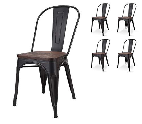 Kosmi - Lotto di 4 sedie in Metallo Nero Opaco con Seduta in Legno massello Scuro, per Decorazioni in Stile Industriale