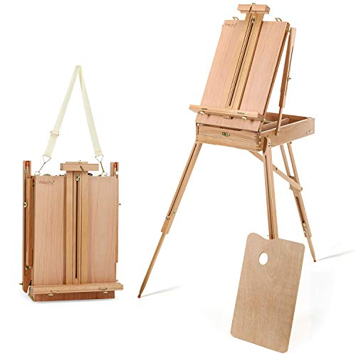 Magicfly Painting Easel with Sketch Box, Adjustable Art Easel with Artist Drawer, Solid Beech Wood Studio Easel French Style, Tripod Easel Stand for Painting, Sketching, Display Artwork