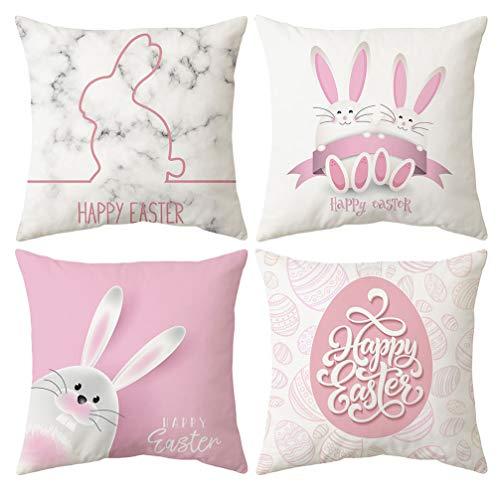 DISKY Funda de almohada de Pascua, 4 piezas, funda de almohada de conejo con huevos, 45 x 45 cm, algodón de piel de durazno para sofá, cama, decoración (#38)