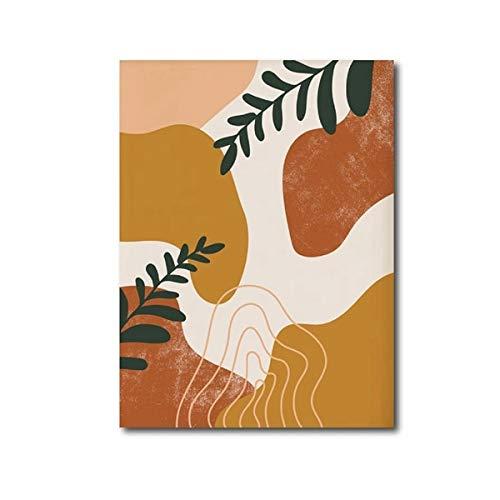 Forma aleatoria abstracta geomtrica arte de la pared pintura en lienzo planta hoja cartel decoracin de estilo nrdico impresin de imagen hogar sin marco pintura decorativa en lienzo N39 50x70cm