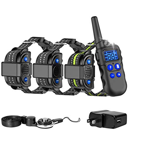 F-color Dog Shock Collar, Waterproof Dog Training Collar with Voice, Remote Range 2600FT, 4 Training Modes Rechargeable Shock Collar for Dogs with Removable Contact Points for Small Medium Large Dogs