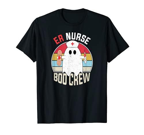 ER Nurse Boo Crew Fantasma Divertido Disfraz de Enfermera Halloween Camiseta