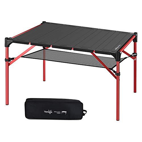 Tentock Klapptisch für Camping im Freien Ultraleicht Ausziehbarer Aluminium Campingtisch mit Lampenfassung und Doppelschicht(Tabelle)