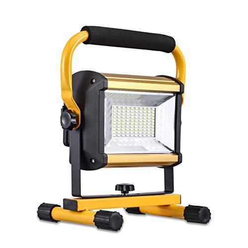 Projecteur LED Rechargeable 100W Projecteur Chantier LED Batterie de 16800 mAh IP65 Imperméable Lumière d'urgence, Utilisés Pour le Travail de nuit, l'extérieur, le Camping, la Pêche de nuit