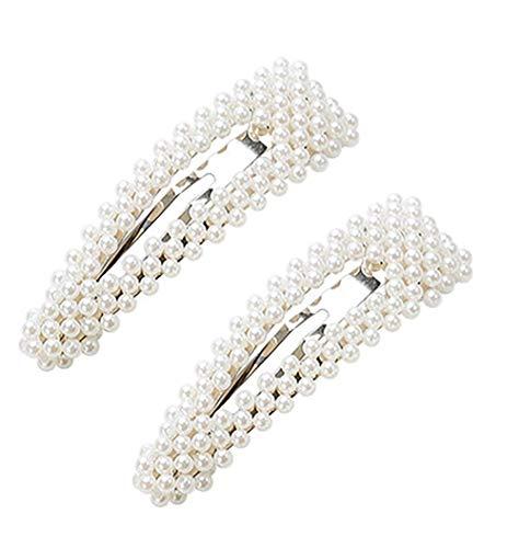 Lot de 2 pinces à cheveux en alliage avec perles synthétiques - Pour filles et femmes (forme de goutte, argentée)