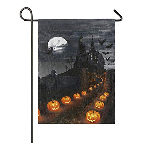 N\ A Garden Flag 28x40 Double Sided Holiday Halloween Pumpkin Burlap Castle Moon Bat Decorative House Yard Flags for Outside Outdoor Welcome Home Decor Banner Large Size 28 x 40 inches