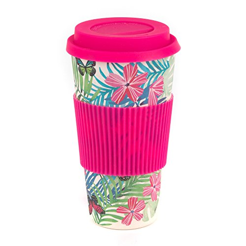 CAMBRIDGE CM05972 Tropical Forest Large Eco Travel Mug, Bamboo, Pink, 20 oz / 560ml, 4